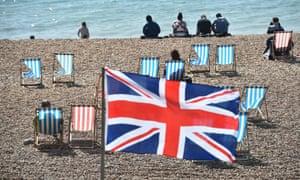 A Union flag on Brighton beach