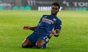 Arsenal's Bukayo Saka celebrates scoring.