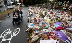 Flowers left to remember victims in Christchurch.