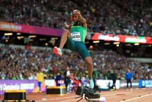 South Africa's Luvo Manyonga in action in the Men's Long Jump Final.