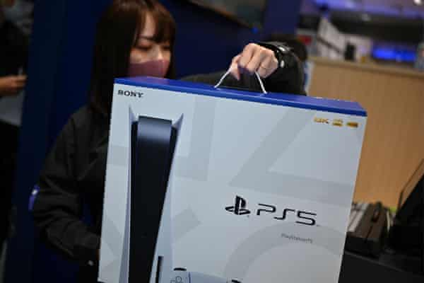The Sony PlayStation 5 gaming console on the first day of its launch last November at an electronics shop in Kawasaki, Japan.