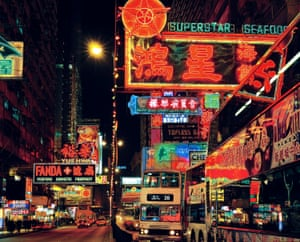 Old photo of neon-lit streets in the 1990s Nathan Road looking South, Kowloon