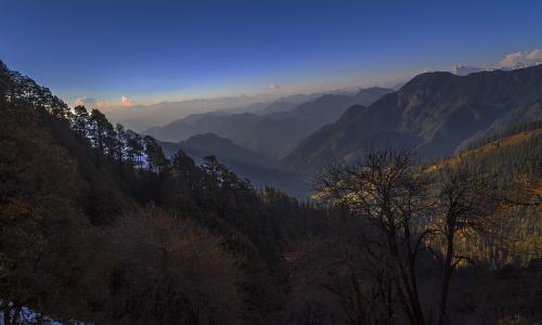 Touching the sky: a distant view of the mountains from the Jalori Pass near Kullu.