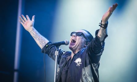 Foot in mouth … Ian Astbury on stage at RBC Bluesfest on Saturday.