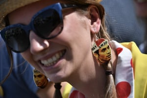 Stage 1: Brussels – Brussels, 194.5km A fan sports Eddy Merckx earrings before the start of the first stage of the 106th edition of the Tour de France, in Brussels, Belgium