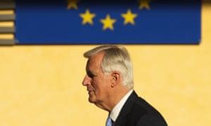 Michael Barnier and the EU flag