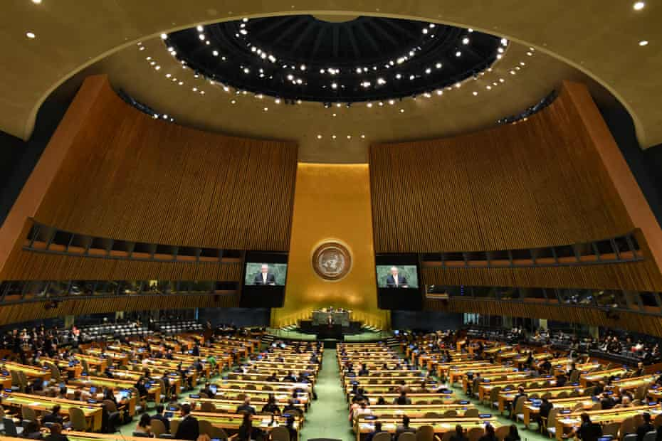 Morrison delivers his statement to the 74th session of the UN general assembly.