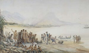A painting depicting the landing of Captain Cook in New Zealand in 1769
