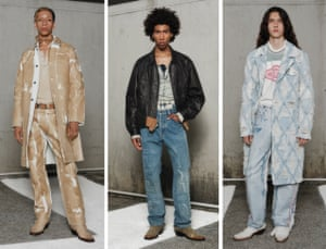 DIESELGlenn Martens' unisex video presentation debut for Diesel may have been a three-part dreamscape, but it was anything but sleepy. The Belgian Y/Project designer put his stamp on the brand immediately, harking back to its 90s and early-00s heyday with skinny cigarette trousers worn with tight denim jackets; low-rise cargo-style pants and straight-leg jeans worn with pointy boots; and exposed seams and asymmetric silhouettes that conjured the era's preoccupation with customisation. Sweet dreams are made of this
