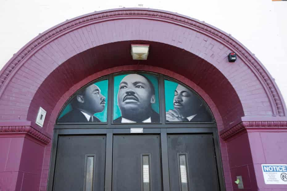 Depictions of the school's namesake can be seen above the doors at Martin Luther King Jr elementary school.