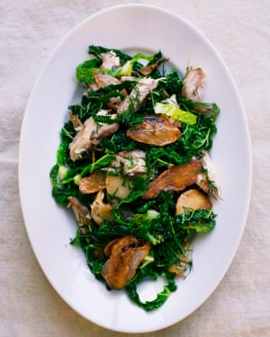Green and pleasant: cabbage, artichokes and smoked mackerel.