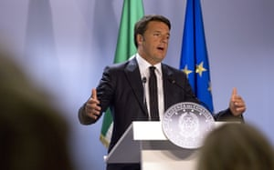Italian Prime Minister Matteo Renzi speaks during a media conference after a meeting of eurozone heads of state at the EU Council building in Brussels on Monday, July 13, 2015.