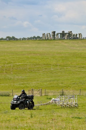 A motorised magnetometer system is used to survey the land around Stonehenge.
