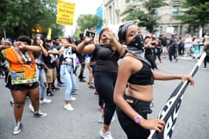 Counterprotesters dance on H Street Northwest