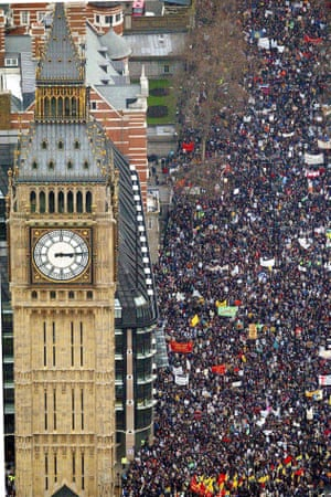The 2003 march against the Iraq war, organised by Stop the War, which was the biggest public rally in British history
