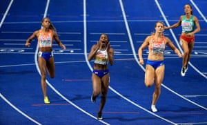 Dina Asher-Smith winning gold at the women's 200m final in Berlin.