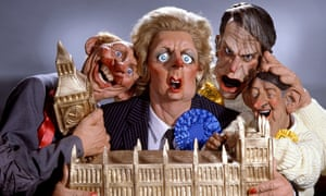 Spitting Image puppets of Neil Kinnock, Margaret Thatcher, David Owen and David Steele
