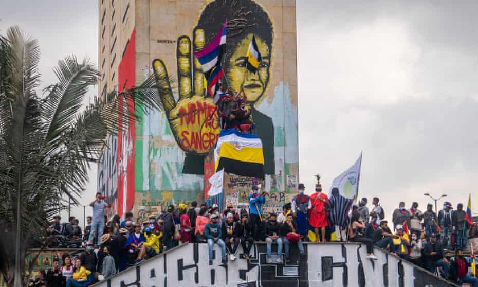 Indigenous women of the Misak community protest in Bogota, Colombia, in June.