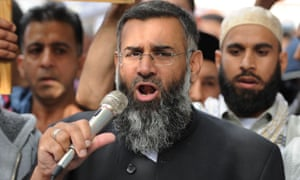 Anjem Choudary speaking to a group of demonstrators in 2012.