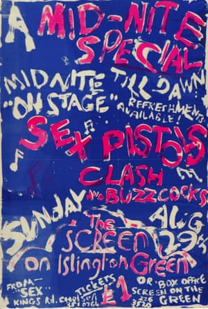 29 August, 1976. Silkscreened poster for the Screen on the Green performance. As few as three copies of this fragile silkscreened poster are thought to still exist, advertising three of punk's biggest bands – Sex Pistols, The Clash and Buzzcocks – on the same bill