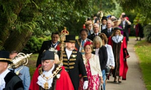 A parade of lord mayors, mayors and other civic heads from across Yorkshire make their way through Ripon during the Yorkshire Day celebrations.