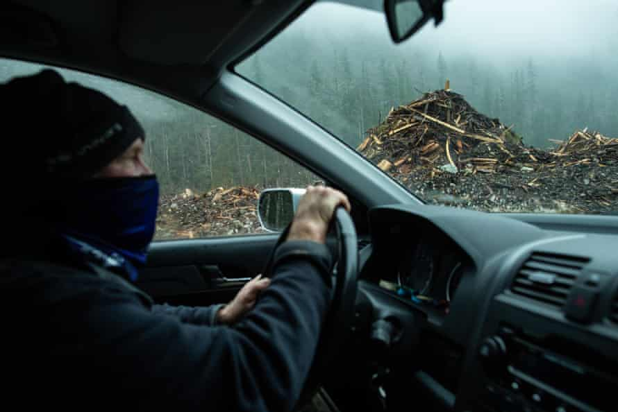 A forest defender drives though an old cut block near the Fairy Creek watershed.