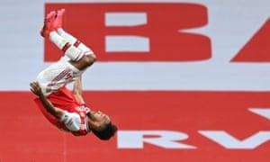 Arsenal's Pierre-Emerick Aubameyang celebrates scoring their third goal.
