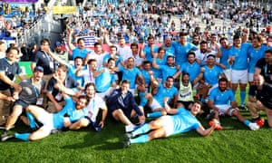 Uruguay's players and staff celebrate in style after their historic Rugby World Cup win over Fiji.