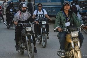 Women's bike rally in Karachi last week.