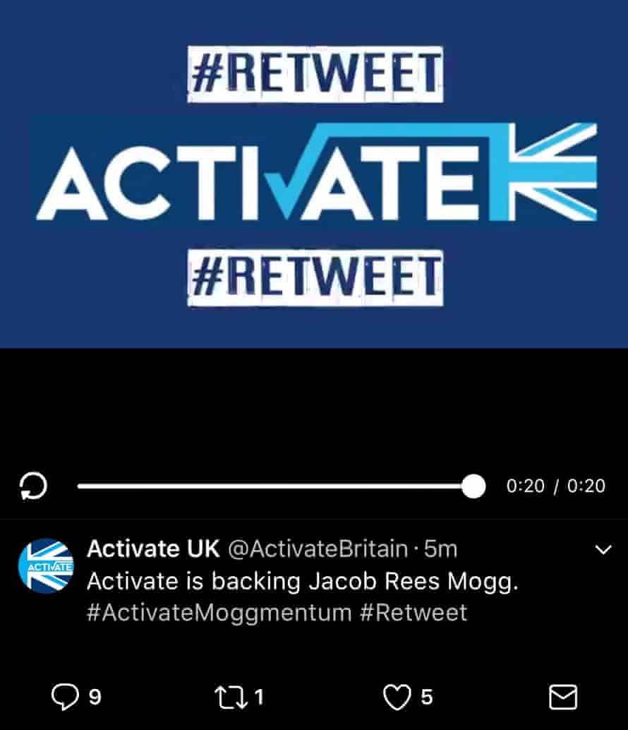 End panel of an @ActivateBritain video featuring the hashtag #Retweet