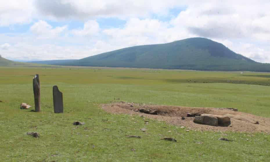 A looter's pit beside two Bronze Age monuments. These are not grave sites, but the structures around them contain the bones of domestic animals – worthless to looters, but with huge scientific value.