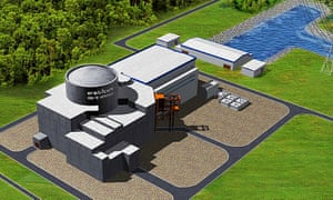 An artist's impression of what a new nuclear power station at Bradwell, Essex, might look like.