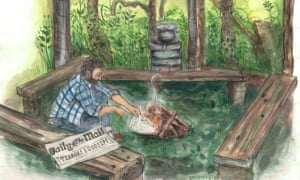 Illustration, of Mark Boyle recycling copy of Daily Mail as fuel for a fire,  by Kirsty Alston