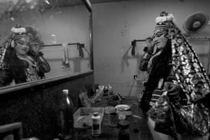 Final Touches (Kerala, India. 2019). A male actor in his dressing room prepares for his role in the Kathakali dance