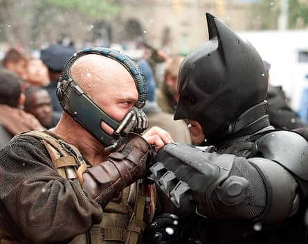 Tom Hardy (left) and Christian Bale in The Dark Knight rises: are accents the Bane of his career?
