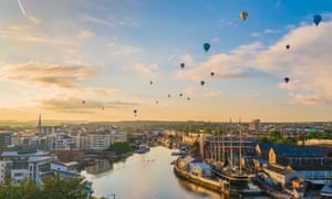 Bristol international balloon fiesta over the city's harbour and SS Great Britain