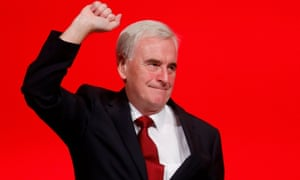Shadow chancellor John McDonnell after his speech in Liverpool on Monday.
