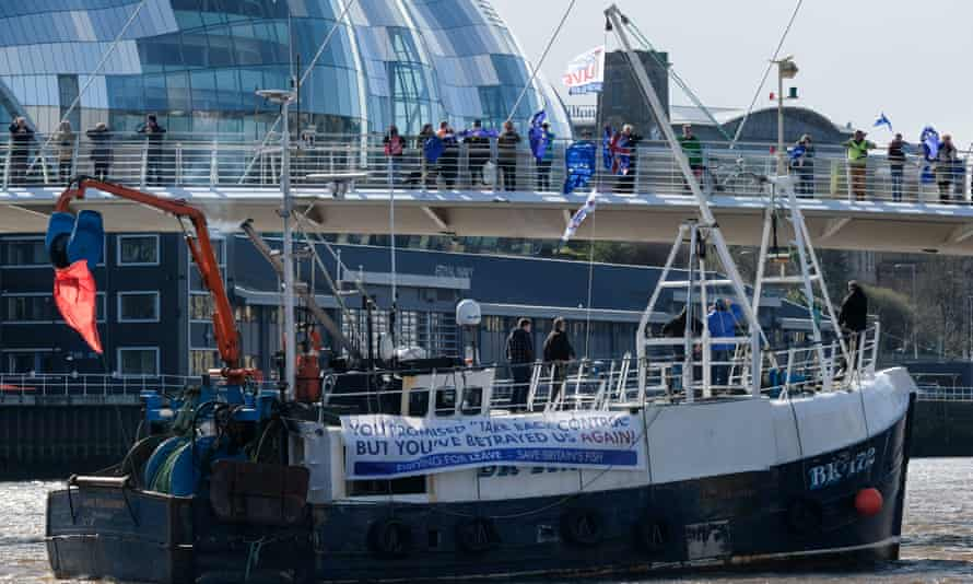 A boat from the Fishing for Leave flotilla in Newcastle upon Tyne