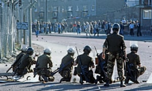 The British army in the streets of Derry, Northern Ireland, after the Apprentice Boys' march during the Troubles.