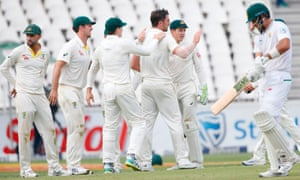 Australia celebrate the dismissal of South African batsman Aiden Markram.