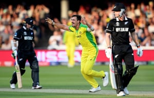 Starc celebrates taking the wicket of Latha.