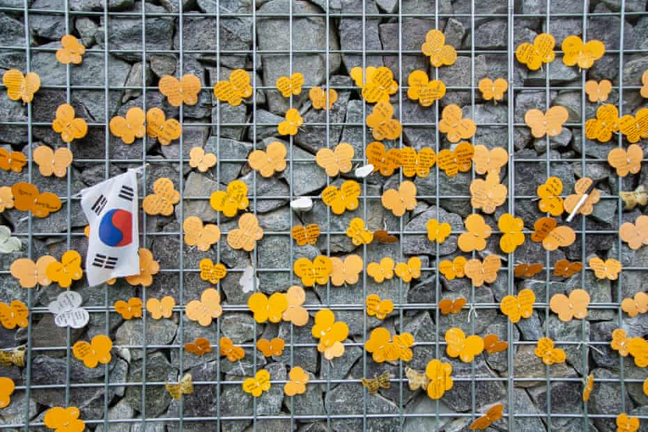 A Wish butterfly message for WWII Japanese Military Comfort Women displayed at Memorial Park of Sharing House in Gwangju, South Korea, on 13 August 2019.
