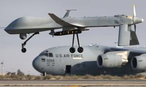 a US Air Force MQ-1B Predator drone at a secret air base in the Persian Gulf
