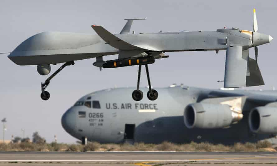 A US unmanned aerial vehicle. 'Any suggestion that US or coalition forces played a role in an attack on a Russian base is without any basis in fact,' the Pentagon said.