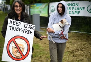 Protesters are seen during an anti-U.S. President Donald Trump demonstration in a camp they have set up outside Shannon Airport in Shannon, Ireland, June 5, 2019.