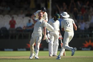 Stokes celebrates the wicket of Philander to win the match for England.