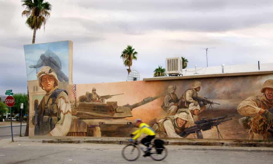 A mural in the town of Twentynine Palms, California, near one of the US's largest Marine training bases.