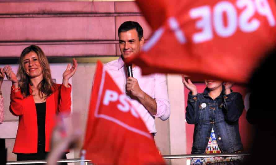 Spain's prime minister Pedro Sanchez greets supporters at the headquarters of the Spanish Socialist party (PSOE) in Madrid, Spain, on 28 April.