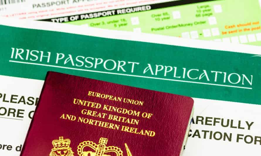 Irish passport application form with EU passport