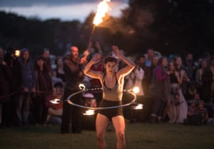 A performance of the Kings Drums, after the sun has set last night in Avebury